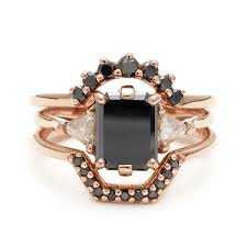 black diamond wedding set black diamond bea engagement ring 14k gold unique alternative