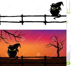 halloween background black cats halloween background with black cat and fence stock vector image