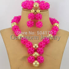 pink beads necklace images 2017 new pink african costume jewelry set handmade indian nigerian jpg