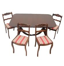 mahogany drexel table with four rose back chairs ebth