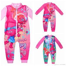 3y 11y pyjamas trolls jumpsuits clothing sleeves