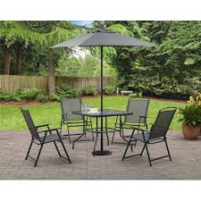 Patio Dining Set With Umbrella Mainstays Albany 6 Folding Dining Set