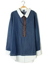 denim blouses multicolor patchwork lapel sleeve denim blouse