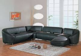 Leather Shag Rug Modern Rustic Living Room Design Ideas U Shaped Black Leather