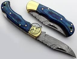 damascus folding back lock knife custom handmade damascus knife