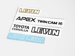 toyota corolla logo toyota corolla levin apex twin cam 16 ae86 grille full sticker set
