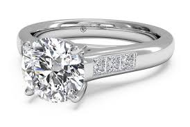 channel engagement ring cut solitaire channel set band engagement ring in