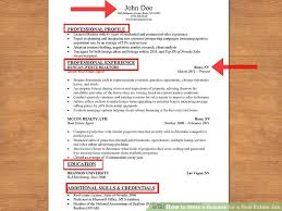 Commercial Real Estate Resume How To Write A Resume For A Real Estate Job 13 Steps