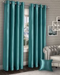 Teal Curtains Stylish Ring Top Eyelet Lined Curtains Plain Faux Silk Teal Blue