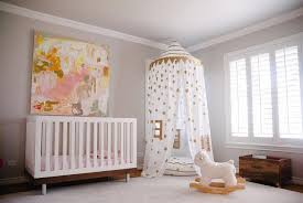 Modern Nursery Curtains Pink And Gold Nursery With Gold Confetti Canopy Contemporary