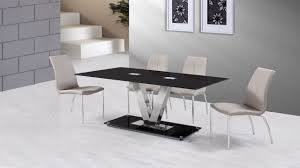 black glass dining table and 6 grey dining chairs homegenies