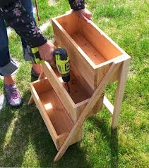 Small Wood Box Plans Free by Ana White 10 Cedar Tiered Flower Planter Or Herb Garden Diy