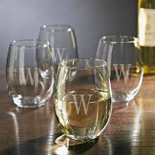 personalized stemless white wine glasses set of 4