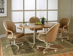 Upholstered Dining Room Chairs With Arms Chair Inspiring Dining Room Chairs With Wheels Casters Table