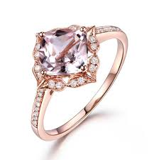 pink morganite aliexpress buy solid 14k gold 7mm cushion cut pink