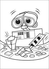 wall e is learning about computers coloring page free printable