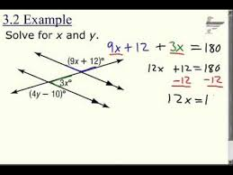 solve for x using parallel lines and a transversal 3 youtube