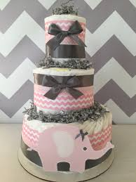 chevron elephant diaper cake in pink and grey elephant baby