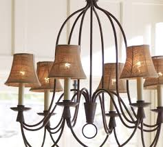Chandelier Shades Cheap Mini Burlap Chandelier Shade Set Of 3 Pottery Barn