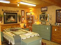 wooden log king size canopy bed frame in rustic bedroom design