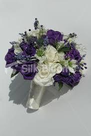 wedding flowers glasgow modern real touch ivory purple bridesmaid wedding bouquet