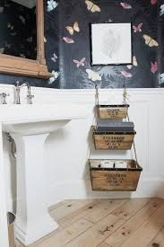 basket ideas for bathroom powder room eclectic with wood floor