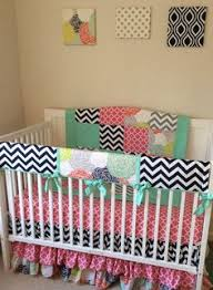 Navy And Coral Crib Bedding Navy Coral And Gray Designer Bumperless Crib Bedding Set By