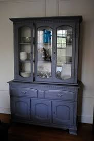 china cabinet painted furniture black stencil vintage cabinet