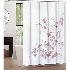 Brown And White Shower Curtains Amazon Com Home Classics Cherry Blossom Fabric Shower Curtain
