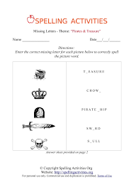 missing letters spelling worksheet with pirates