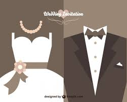 wedding invitations vector wedding invitation with dress and wedding suit vector free