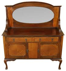 antique mahogany queen anne mirrorback sideboard server buffet