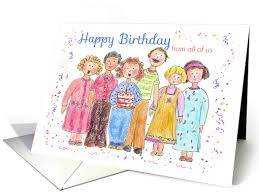 happy birthday from all of us office work place illustration card