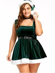 christmas lace up skater dress with hat deep green plus size