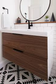 ikea vanity with custom walnut drawer fronts bathroom ideas black faucet round mirror ikea vanity with custom walnut drawer fronts