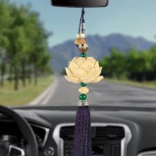 carving lotus car hanging pendant auto rearview mirror decoration