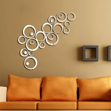 popular round wall stickers buy cheap lots new fashion hot sale diy silver mirror effect wall sticker artistic round decal home