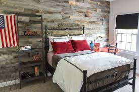 bedroom gray white bedroom reclaimed wood wall metal bed frame