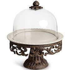 Ceramic Pedestal Cake Stand Tggc Cake Pedestal With Glass Dome Cake Stand U0026 Reviews Wayfair