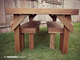 Make Your Own Picnic Table Bench by Build A Cedar Picnic Table The Contractor Chronicles