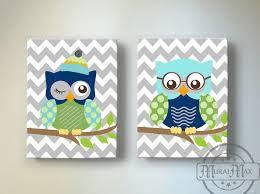 Navy And Green Nursery Decor Chevron Owl Nursery Decor Owl Canvas Baby Boy Chevron