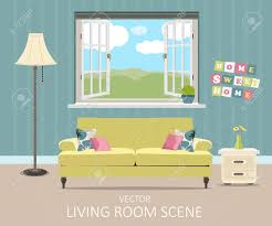 livingroom cartoon interior of a living room modern flat design illustration royalty