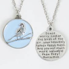 christian jewlery pewter necklace lt blue sparrow matt 6 25 26 christian