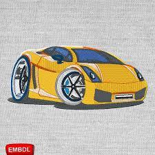 cartoon sports car lamborghini cartoon car embroidery design