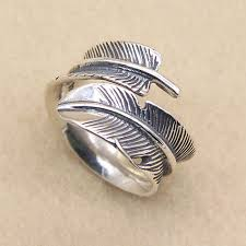 rings sterling silver images Sterling silver feather ring for men jpg