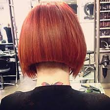 short stacked bob haircut shaved undercut shaved bob hairstyle in red hair colored with back view