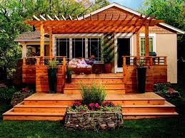 attractive deck pergola ideas attached to the house with wall