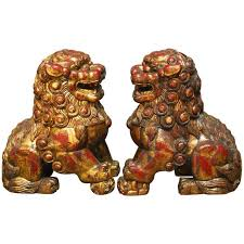 orange foo dogs pair of large gilt temple foo dogs for sale at 1stdibs