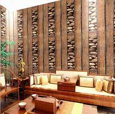 chinese vintage painting wood stone 3d pvc fireproof wallpaper