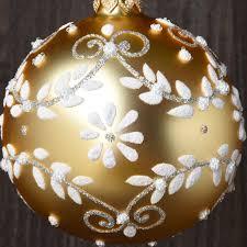 set of 6 handpainted satin flowers european glass ornaments